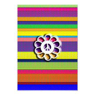 Peace Flower Power Colorful Stripes Card