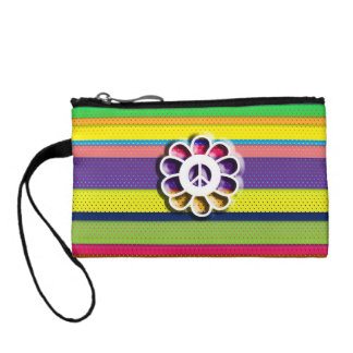 Peace Flower Power Colorful Stripes Coin Purse