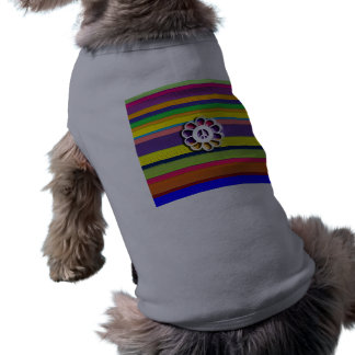Peace Flower Power Colorful Stripes Pet Tee