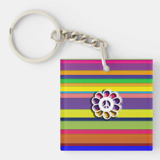 Peace Flower Power Colorful Stripes Keychain