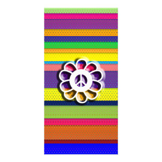 Peace Flower Power Colorful Stripes Custom Photo Card