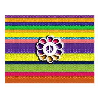 Peace Flower Power Colorful Stripes Postcard