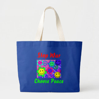 Peace Flower Smilies Large Tote Bag
