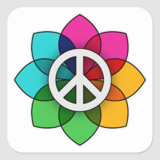 Peace Flower Square Sticker