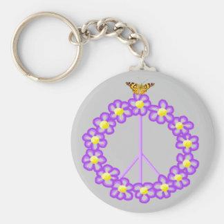 Peace Flowers Butterfly Keychain