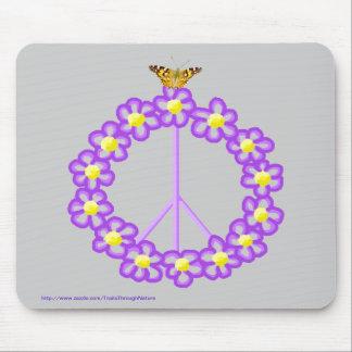 Peace Flowers Butterfly Mousepad