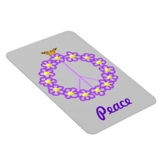 Peace Flowers Butterfly Premium Magnet