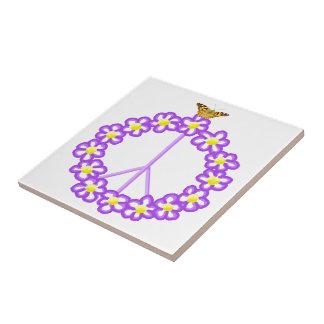 Peace Flowers Butterfly Tile