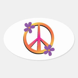 Peace & Flowers Oval Sticker