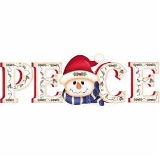 """PEACE"" Folk Art Snowman Photo Sculpture"