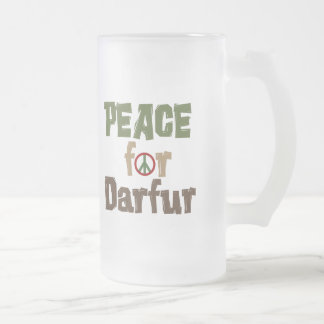 Peace For Darfur 3 16 Oz Frosted Glass Beer Mug