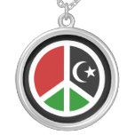 Peace for Libya Round Pendant Necklace