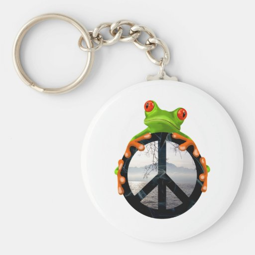 peace frog1 basic round button keychain