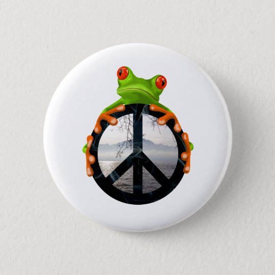 peace frog1 pinback button