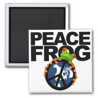 Peace Frog-2 2 Inch Square Magnet