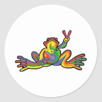 Peace Frog Classic Round Sticker