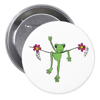 Peace Froggy 3 Inch Round Button