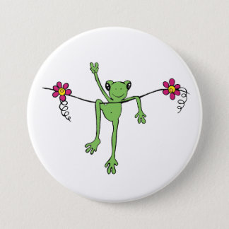 Peace Froggy Pinback Button