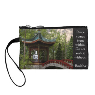 Peace From Within, Buddha Quote Change Purse