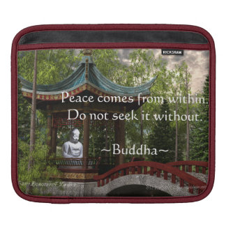 Peace From Within, Buddha Quote iPad Sleeve