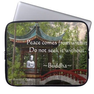 Peace From Within, Buddha Quote Laptop Sleeve