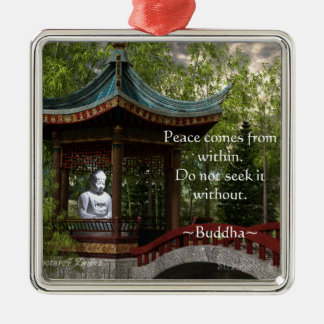 Peace From Within, Buddha Quote Metal Ornament