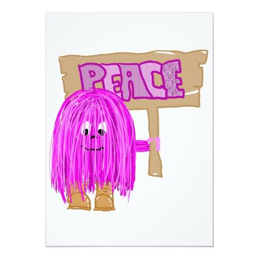 Peace Fuchsia Peace person 5x7 Paper Invitation Card