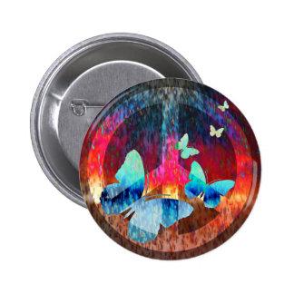 Peace-Full Blue Butterflies Button