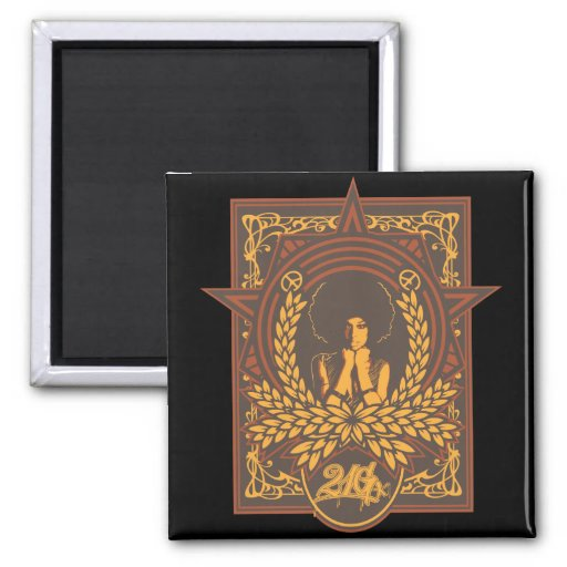 Peace Funk Afro 2 Inch Square Magnet