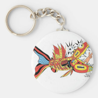 Peace Funky Folk Fish Basic Round Button Keychain