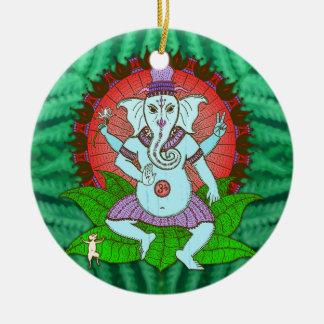 Peace Ganesh Dancing Ceramic Ornament