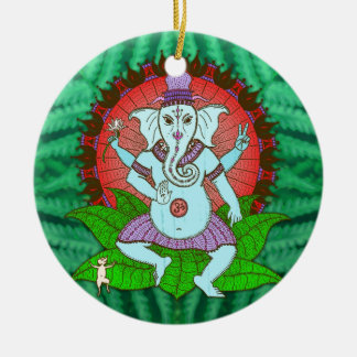 Peace Ganesh Dancing Double-Sided Ceramic Round Christmas Ornament