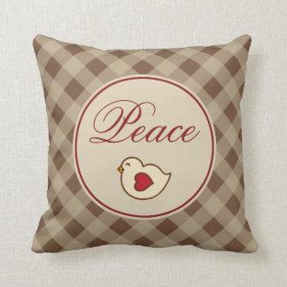 Peace Gingham Christmas Pillow