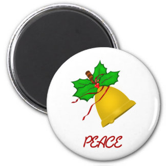 Peace Gold Christmas Handbell 2 Inch Round Magnet