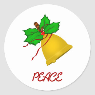 Peace Gold Christmas Handbell Classic Round Sticker