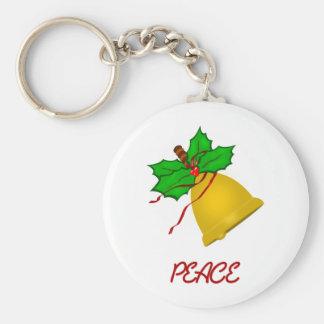 Peace Gold Christmas Handbell Basic Round Button Keychain