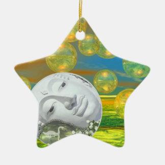 Peace – Golden and Emerald Serenity Ceramic Ornament