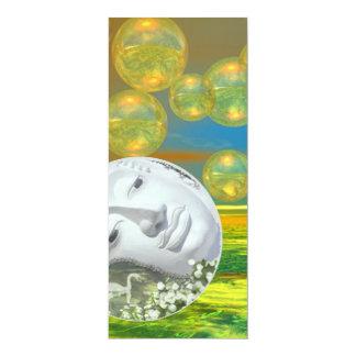 "Peace – Golden and Emerald Serenity 4"" X 9.25"" Invitation Card"