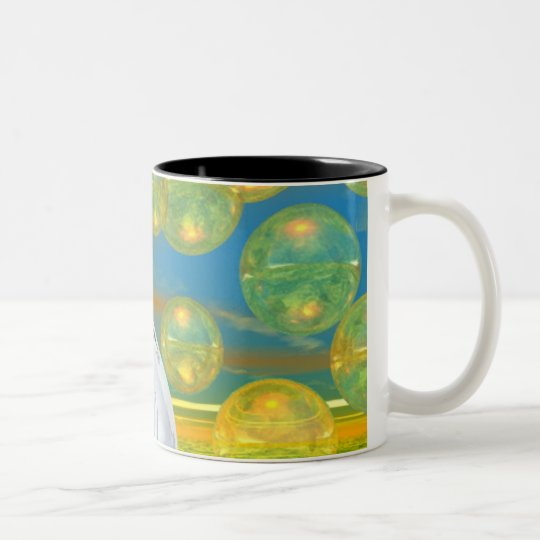 Peace – Golden and Emerald Serenity Two-Tone Coffee Mug
