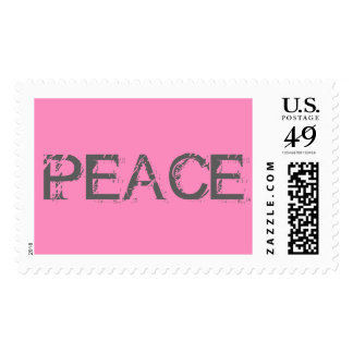 Peace Gray/Pink Postage Stamp All Size Options