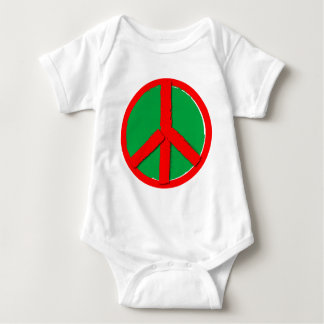 Peace - Green and Red Baby Bodysuit