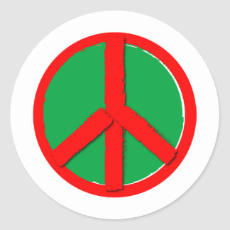 Peace - Green and Red Classic Round Sticker