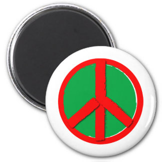 Peace - Green and Red Refrigerator Magnets
