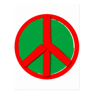 Peace - Green and Red Postcard
