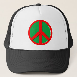 Peace - Green and Red Trucker Hat