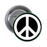 Peace Green Symbol! 2 Inch Round Button