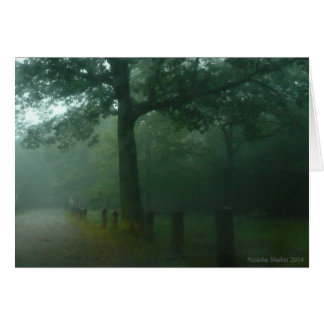 PEACE Greeting card, green trees, mist Card