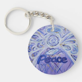 Peace Guardian Angel Word Custom Keychain