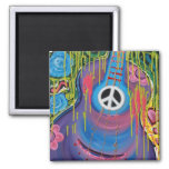 Peace Guitar 2 Inch Square Magnet