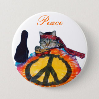 Peace guitar cat Button Pin
